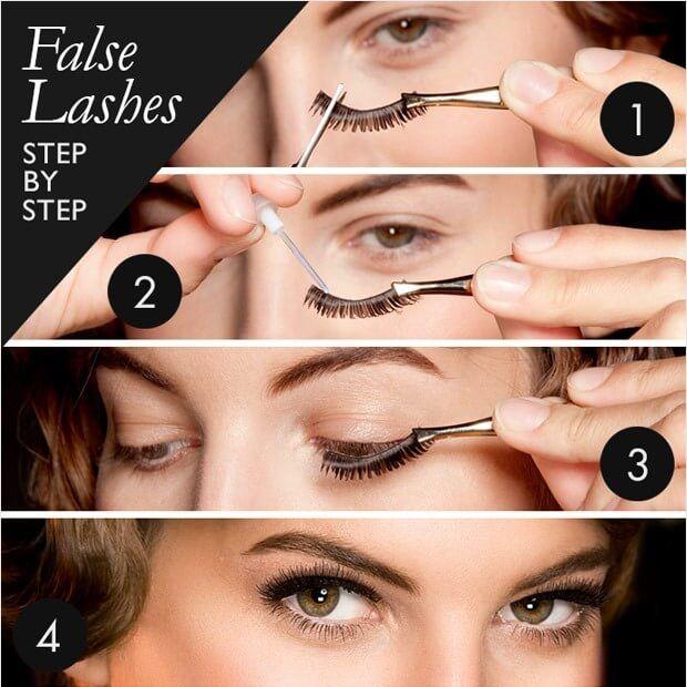 steps to apply fake eyelashes