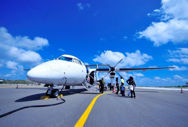 traveling in a private jet